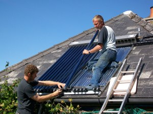 Brian and Camille's Solar Panel being completed